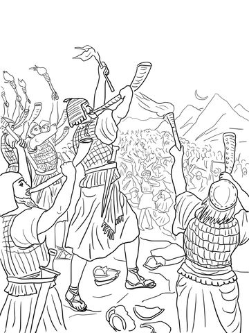 Gideon\'s Battle Against the Midianites coloring page from Judge ...