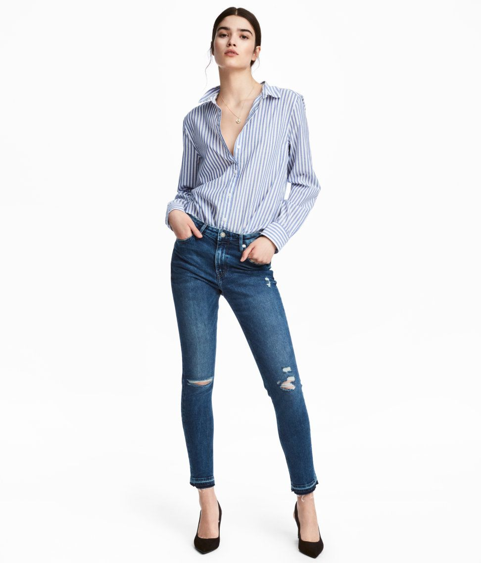 Check this out! 5-pocket, ankle-length jeans in washed denim with distressed details. Regular waist, zip fly with button, and skinny legs. - Visit hm.com to see more.