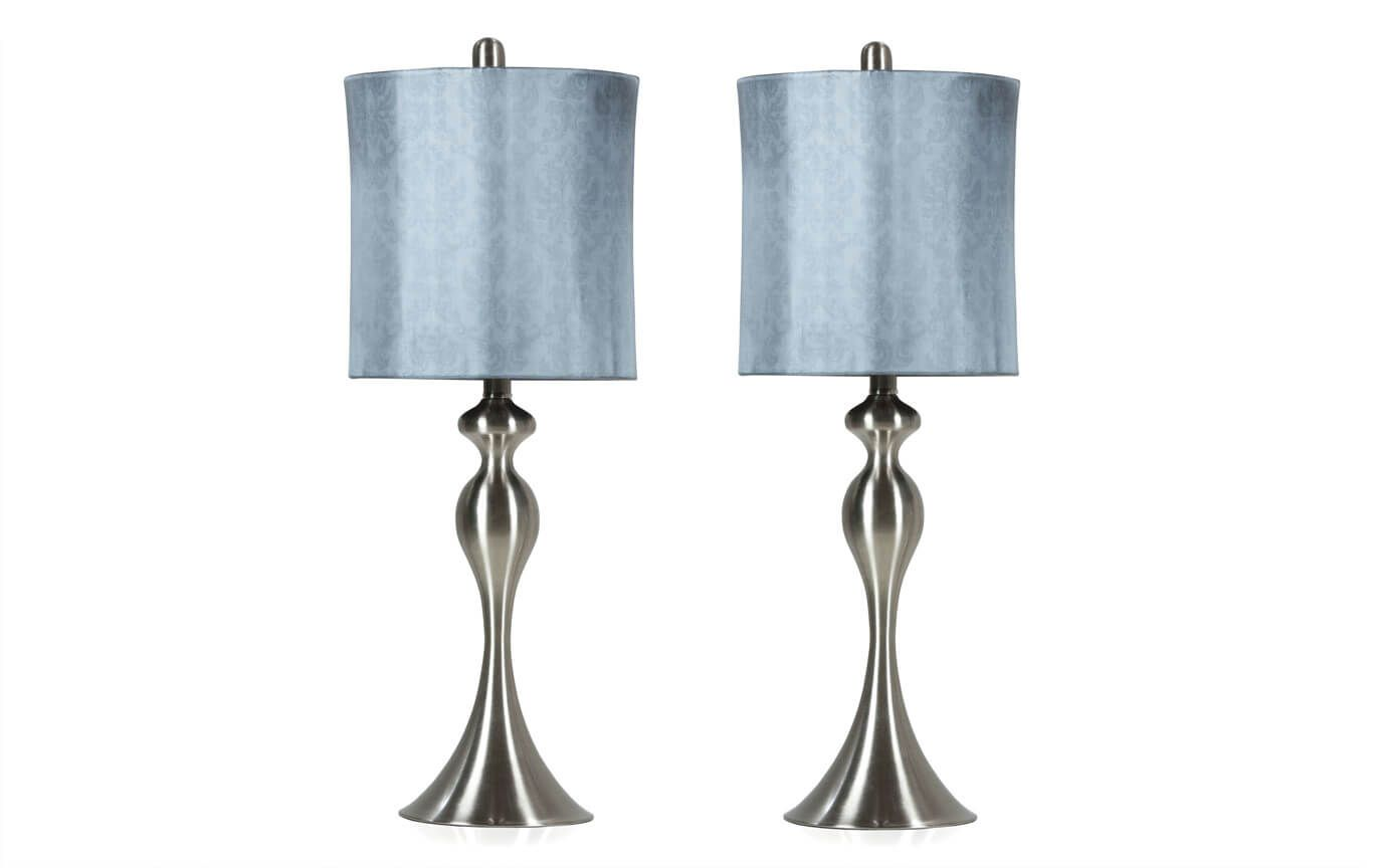 Set Of 2 Blue Shadow Damask Lamps Bob S Discount Furniture