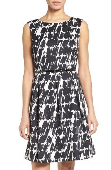 Ellen Tracy Belted Print Scuba Fit Amp Flare Dress Fit
