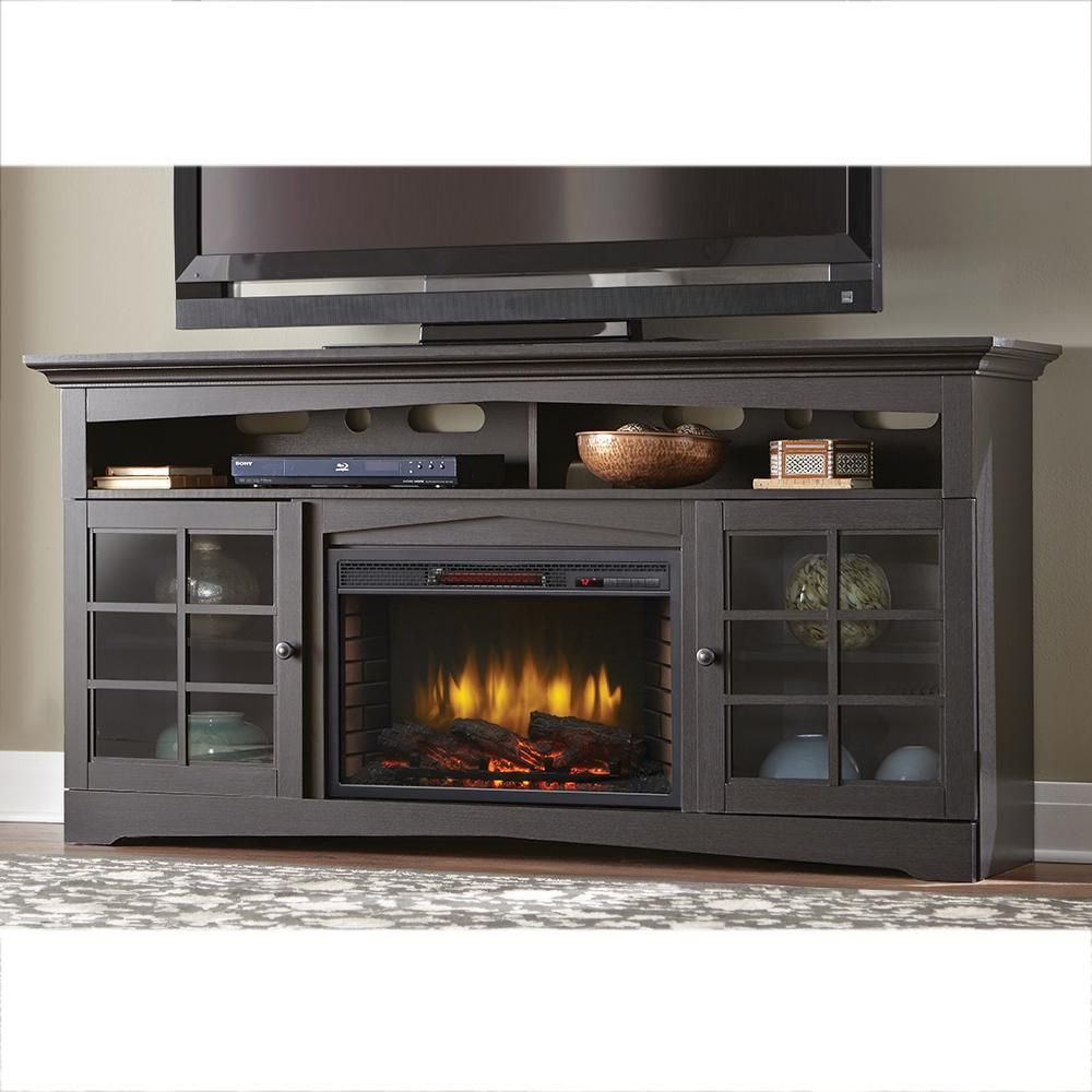 Home Decorators Collection Avondale Grove 70 In Tv Stand Infrared Electric Fireplace In Aged Black 365 187 170 Y The Home Depot Fireplace Tv Stand Electric Fireplace Tv Stand Electric Fireplace