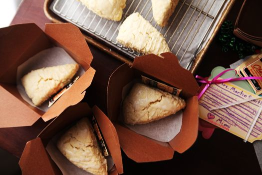 Teacher Appreciation Idea- Afternoon tea break packages via @SavorySweetLife . Homemade baked scones packaged with a tea bag and a personalized note for the recipicant to enjoy as an afternoon tea break.