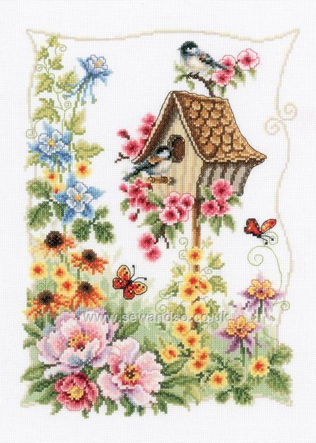 Buy birdhouse border cross stitch kit online at
