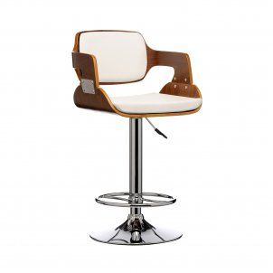 Walnut Wood Stool with White Leather Effect