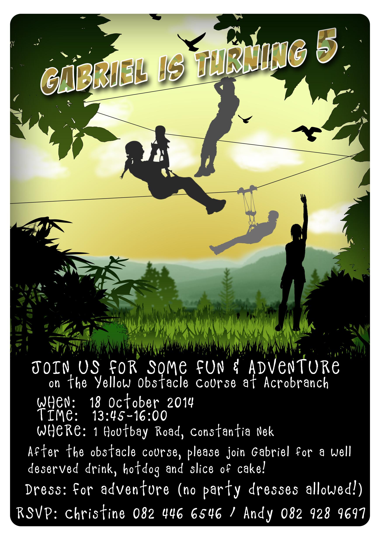 Outdoor Zip-line Birthday Invitation | The work I\'ve done ...