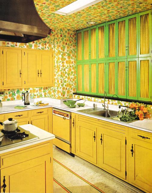 Kitchen Decor, 1960s Trendy living room wallpaper