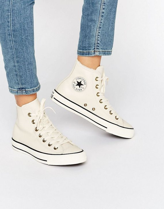 613d33bded White Converse Leather Boot High Tops Fur Lined W US 8 Ivory Bone w   Swarovski