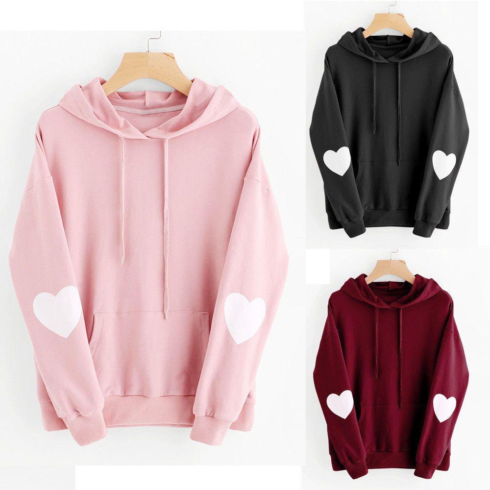 Women Hoodie Sweatshirt Heart Hooded Ladies Sweater Casual Tops Jumper Pullover.
