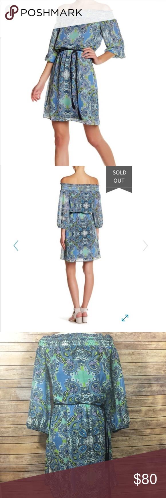 Eliza j blue paisley off shoulder dress size nwt my posh closet