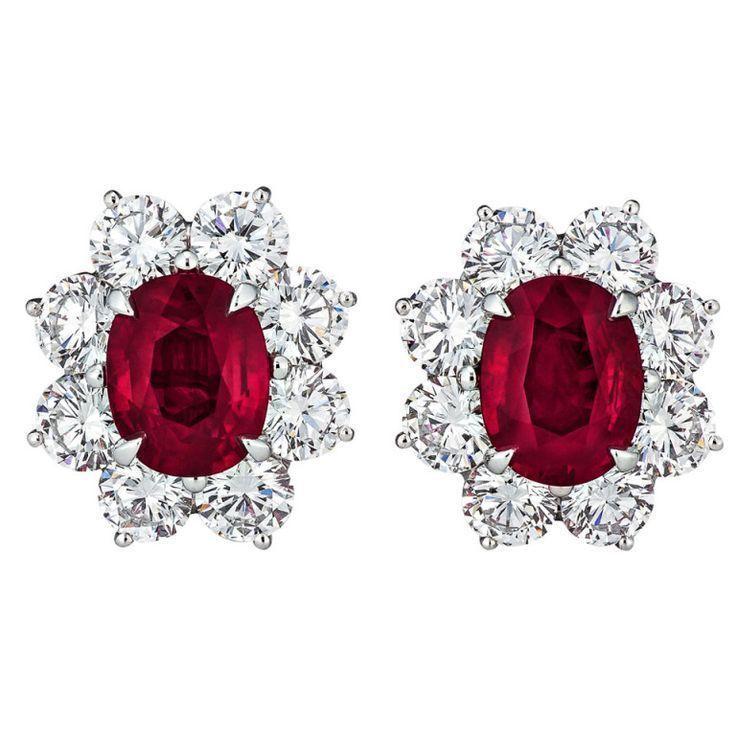 Burmese Ruby and Diamond Earrings   From a unique collection by Vin ... - Burmes...,  #Burmes #Burmese #burmeserubyjewelry #Collection #Diamond #Earrings #Ruby #Unique #Vin
