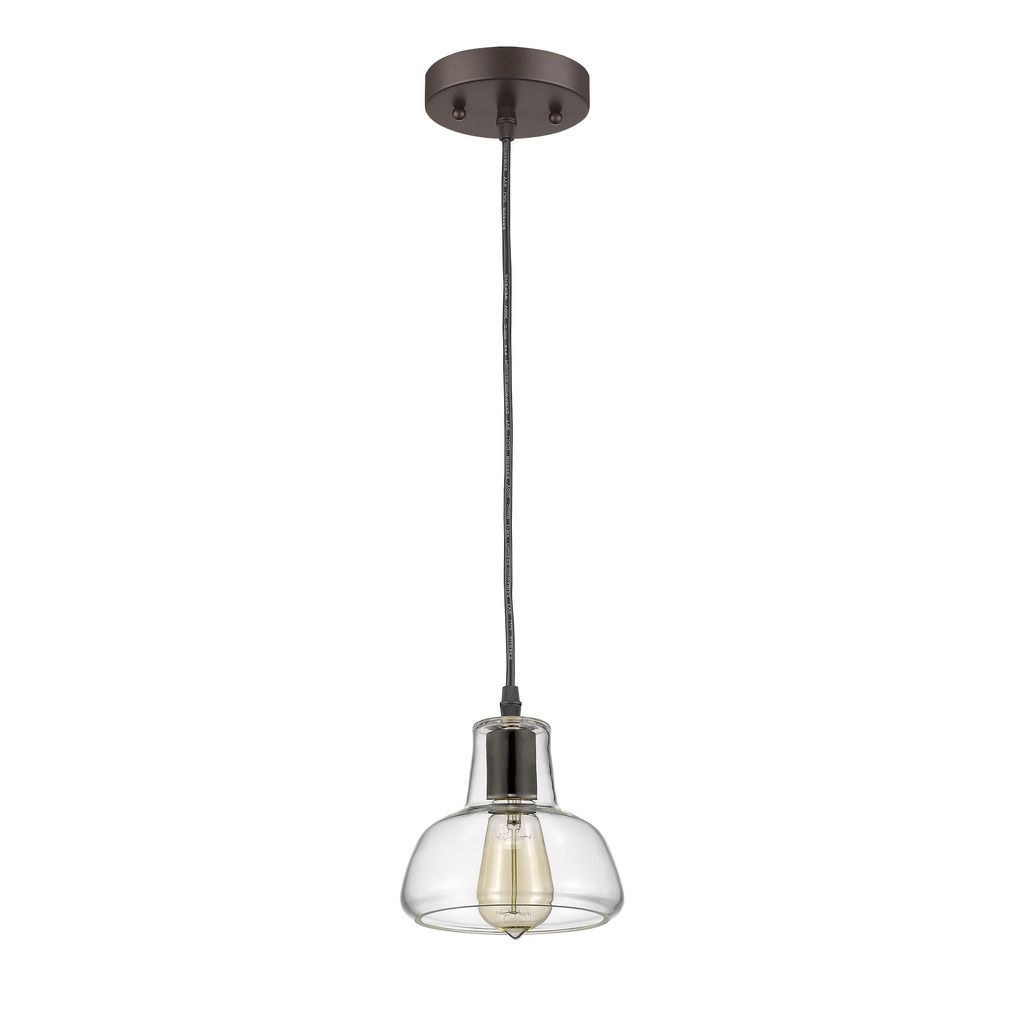 This light mini pendant features a oil rubbed bronze finish that
