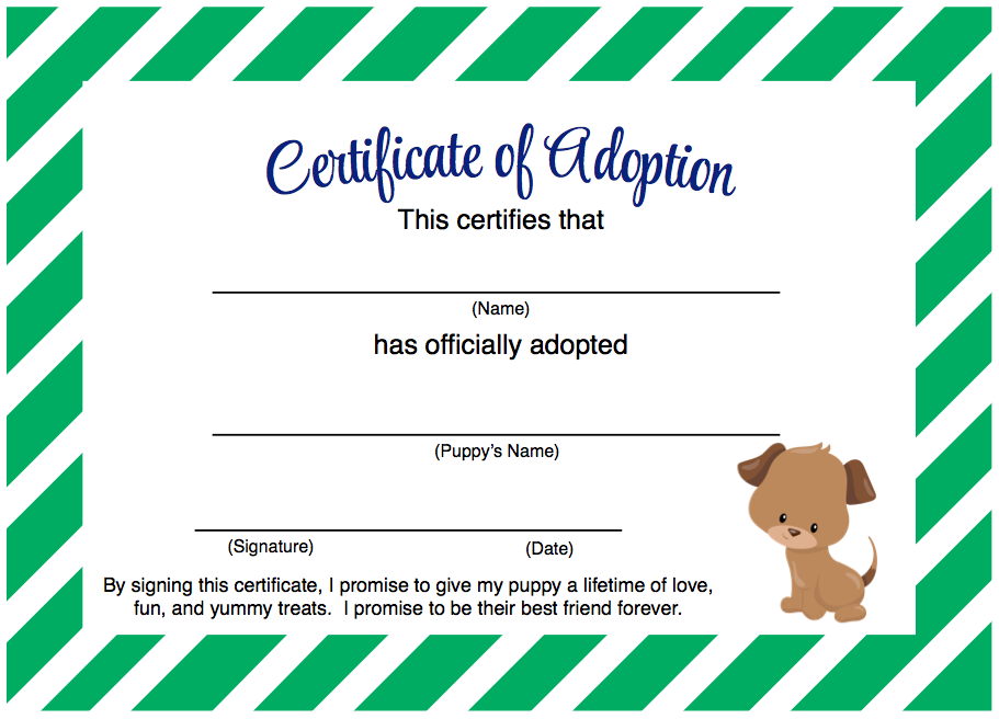 Adoption certificate template free download champlain for Dog show certificate template