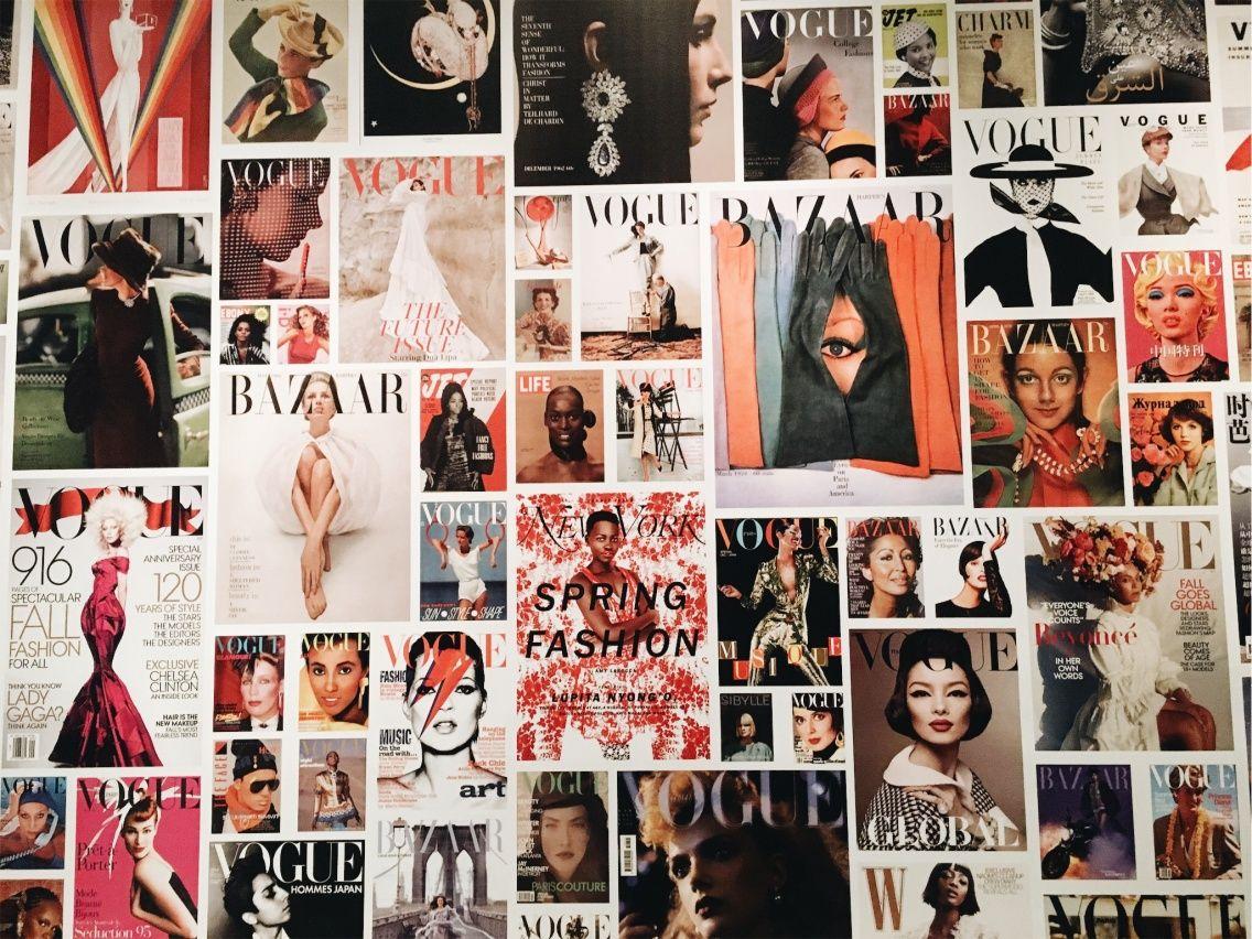 Vintage Vogue Wall Insta Ziskcolleen Magazine Collage Walls Aesthetic Room Decor Bedroom Wall Collage