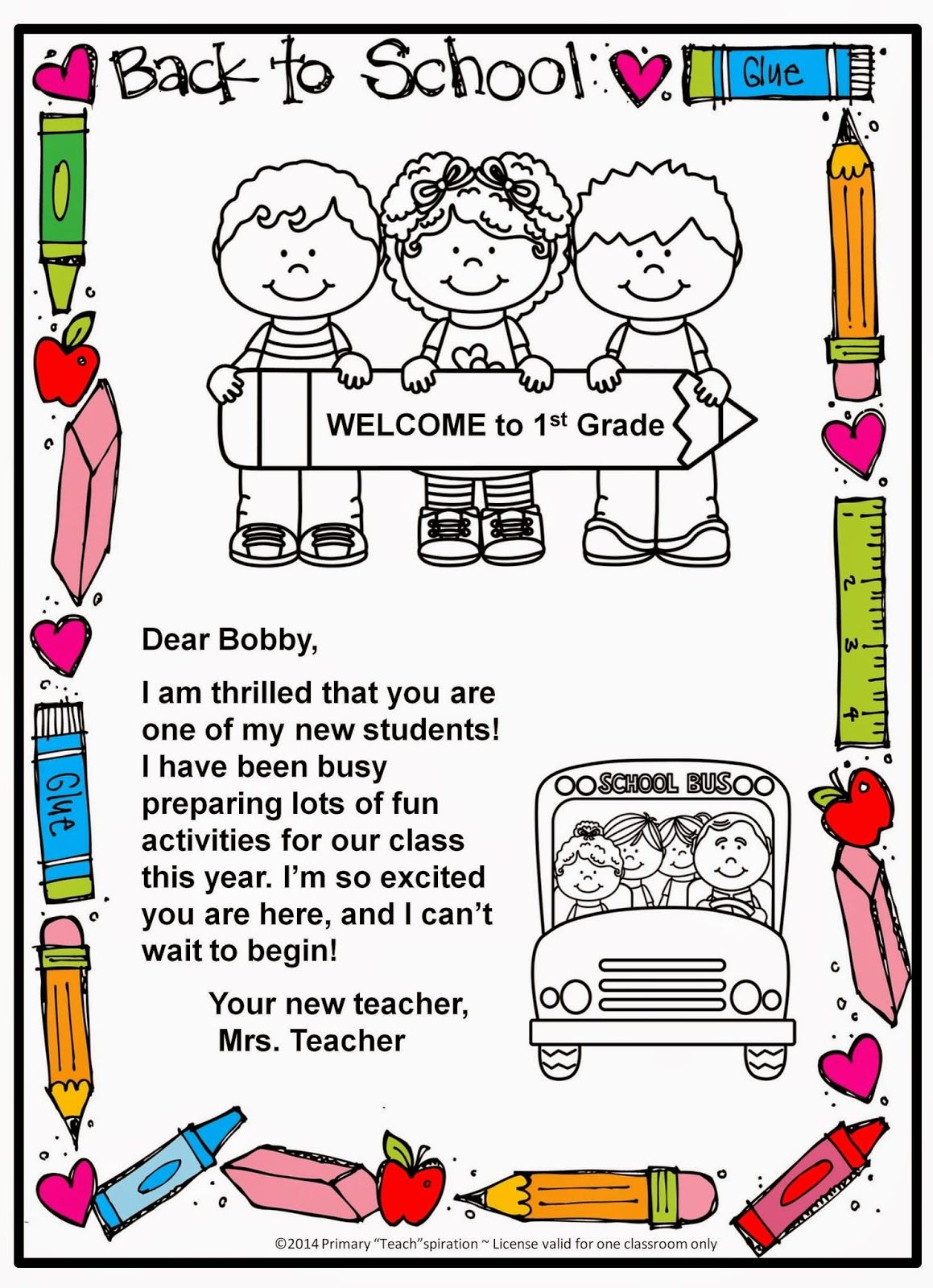 Back to School Wel e Letter and Postcard Pinterest