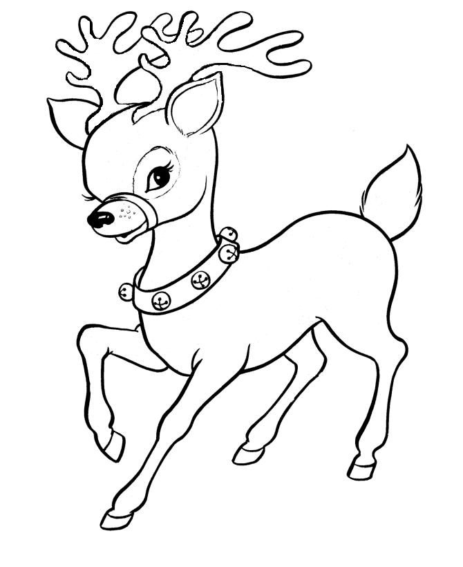 Cute Santa Reindeer Christmas Coloring Page Free Coloring Pages