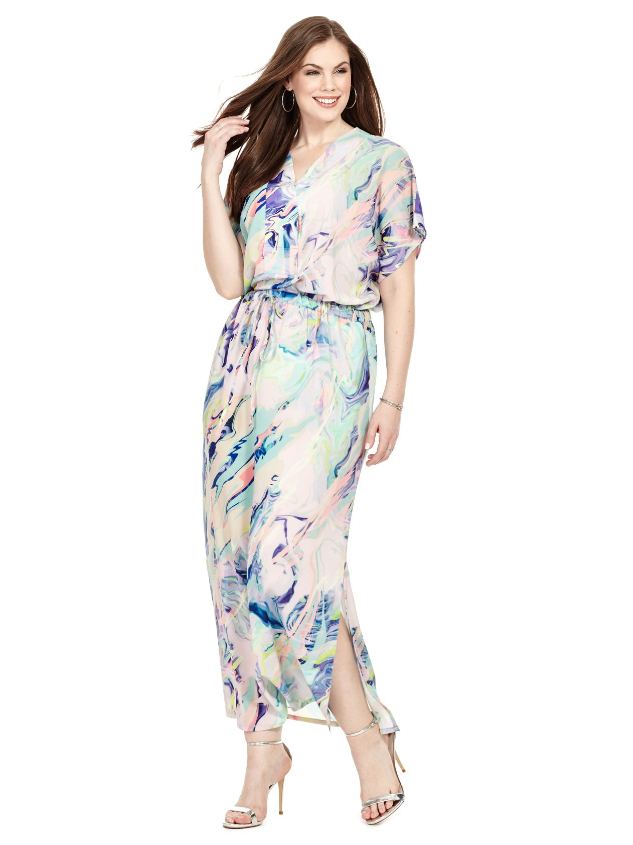 Pastel Printed Drawstring Maxi Dress By Isabel Alice Available In Sizes L Xl And 1x 5x Drawstring Maxi Dress Maxi Dress Dresses With Leggings [ 1684 x 1262 Pixel ]