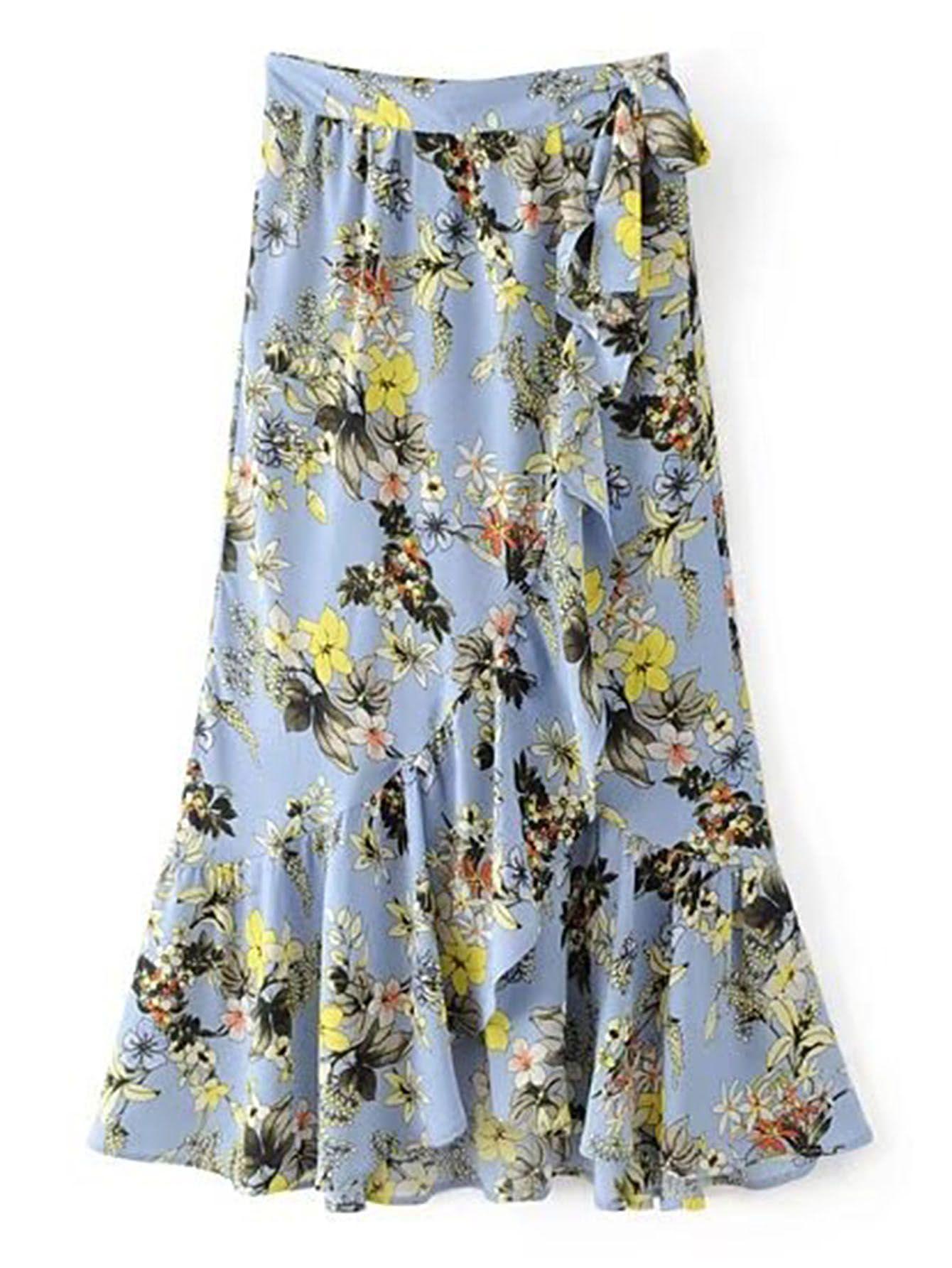 60909a139 Knot Detail Ruffle Trim Wrap Skirt | Roupas | Falda stradivarius ...