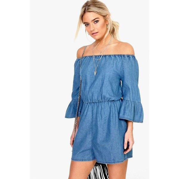 0da2ee79e94 Boohoo Blue Kellie Ruffle Off The Shoulder Denim Playsuit ( 40) ❤ liked on  Polyvore featuring jumpsuits
