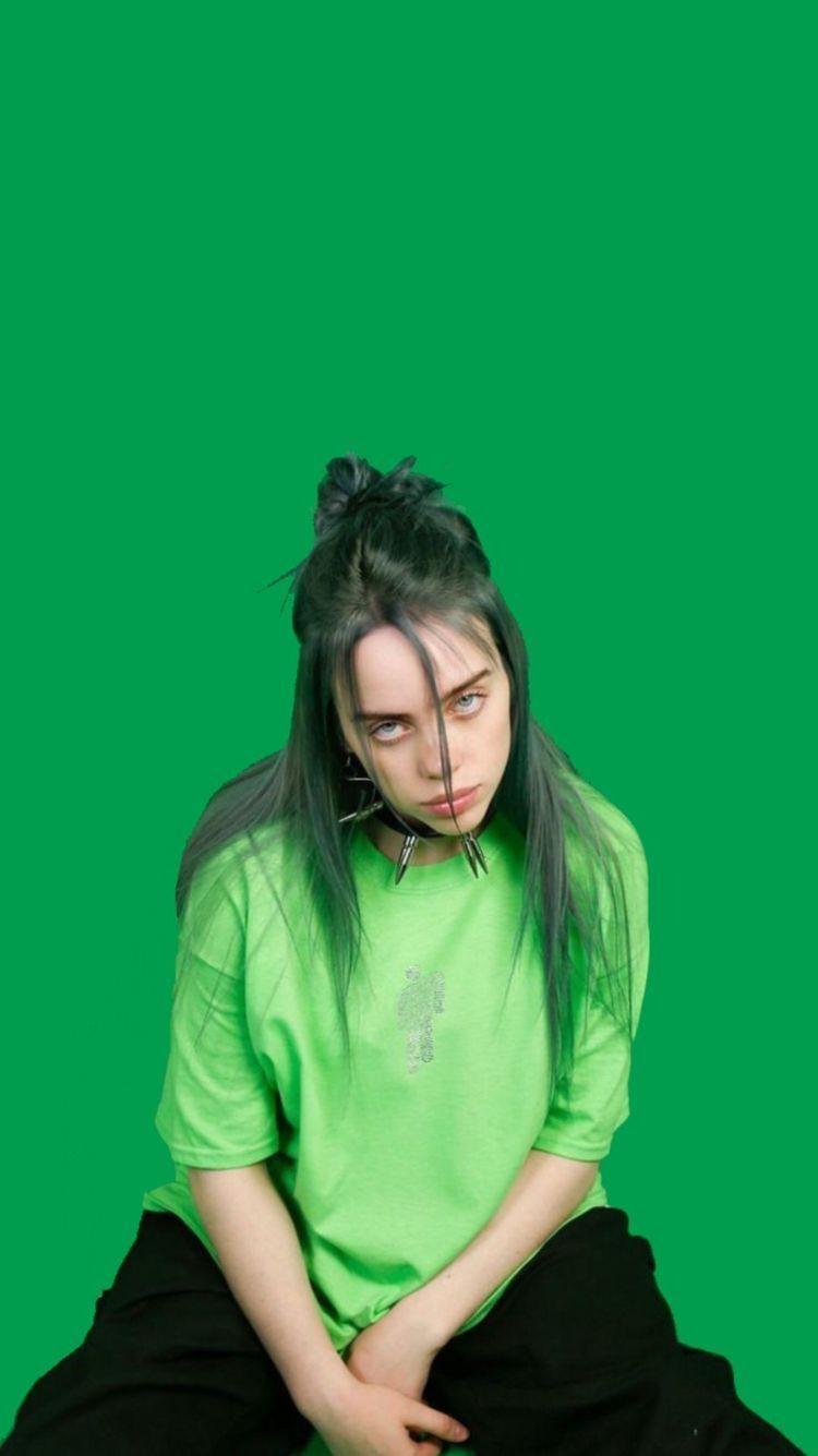 Billieeilish Green Wallpaper Wallpaperbillieeilish Billieeilishwallpaper Billie Billie Eilish Singer
