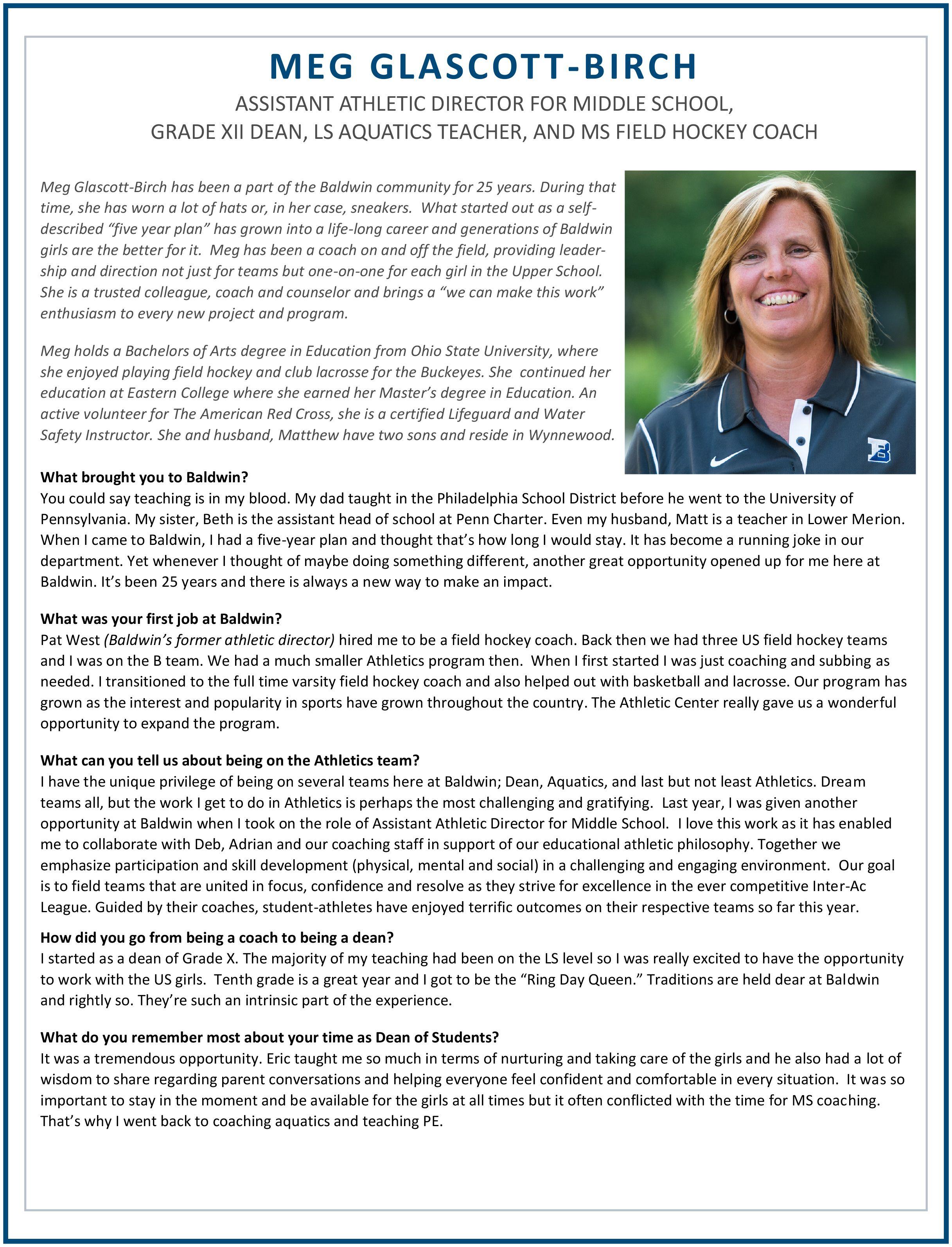 Meet Meg Glascott-Birch (front) | Faculty Profiles