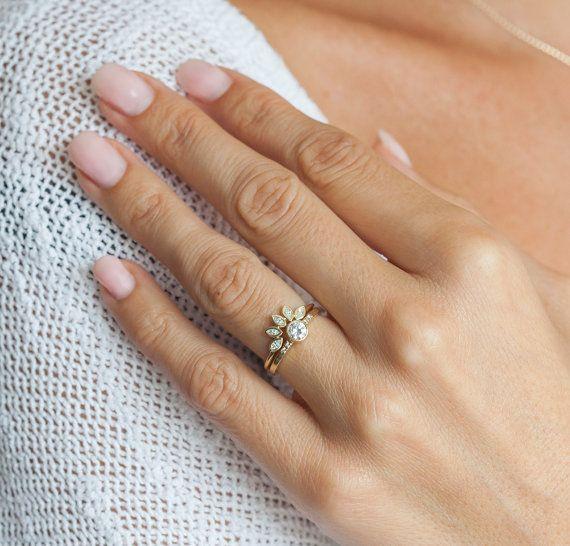 Crown Wedding Rings   Mini Diamond Crown Ring Mini Diamond Wedding Band Marquise Diamond