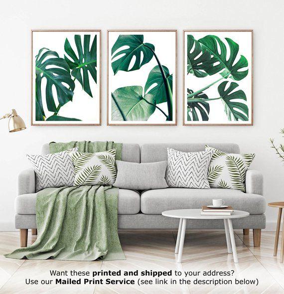 Monstera Leaves Set 3 Piece Decor Tropical Leaf Prints Palm Leaf