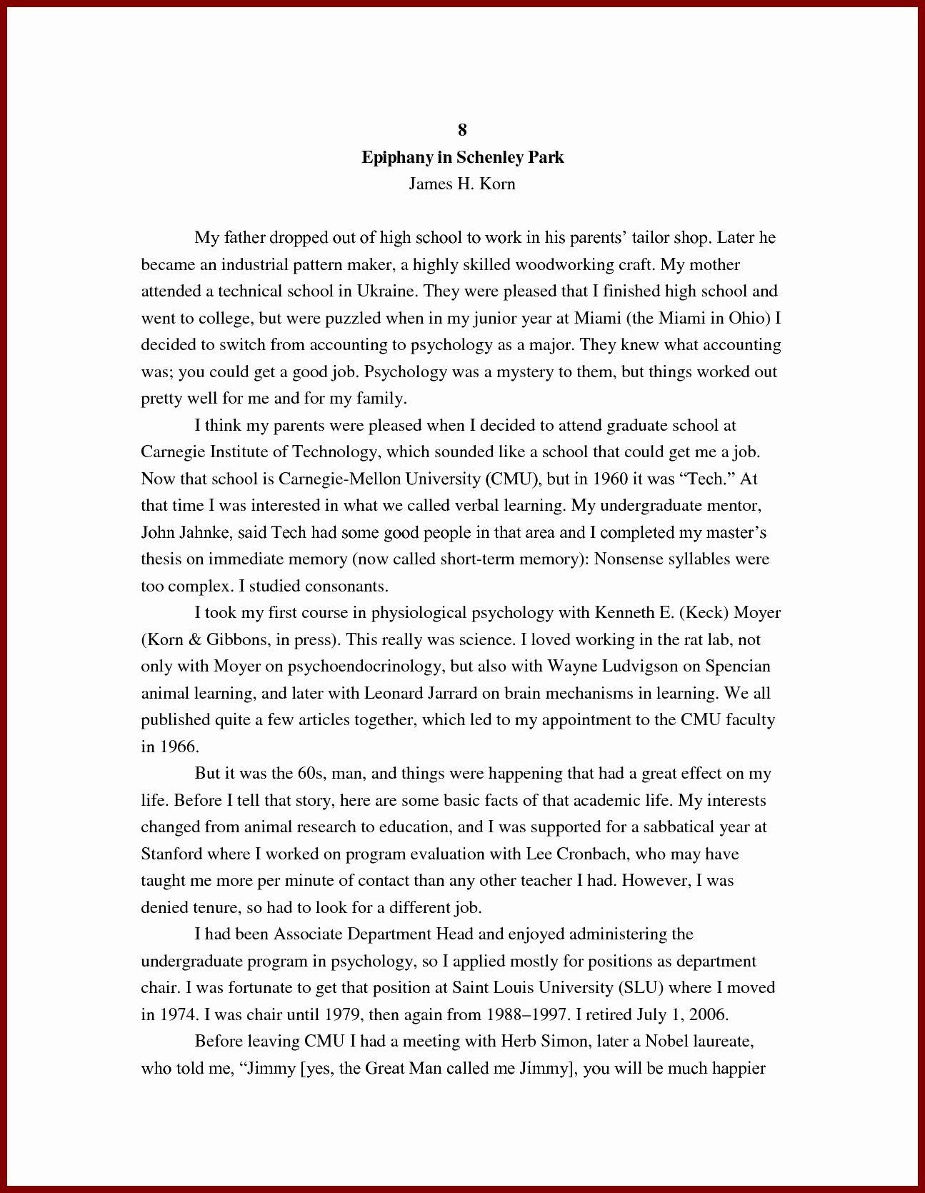 Biography example essay