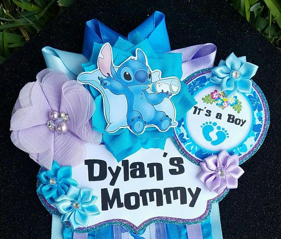 Baby Boy Stitch Themed Mommy To Be Baby Shower Corsage Or Badge