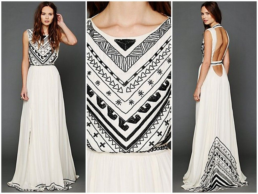 Mara Hoffman for Free People -- embellished boho wedding dresses, read more at http://mysistersweddingblog.com/embellished-boho-wedding-dresses-for-the-offbeat-bride-not-my-sister/