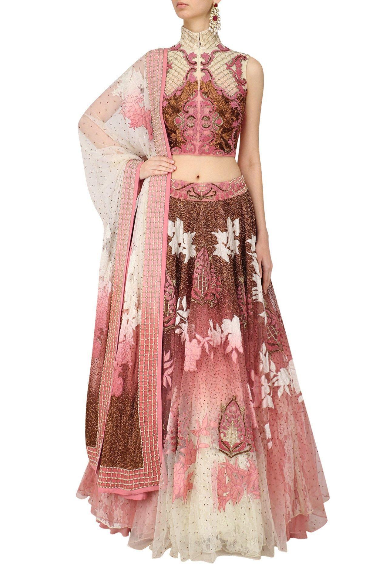 Rose Pink and Pearl White Lehenga Choli