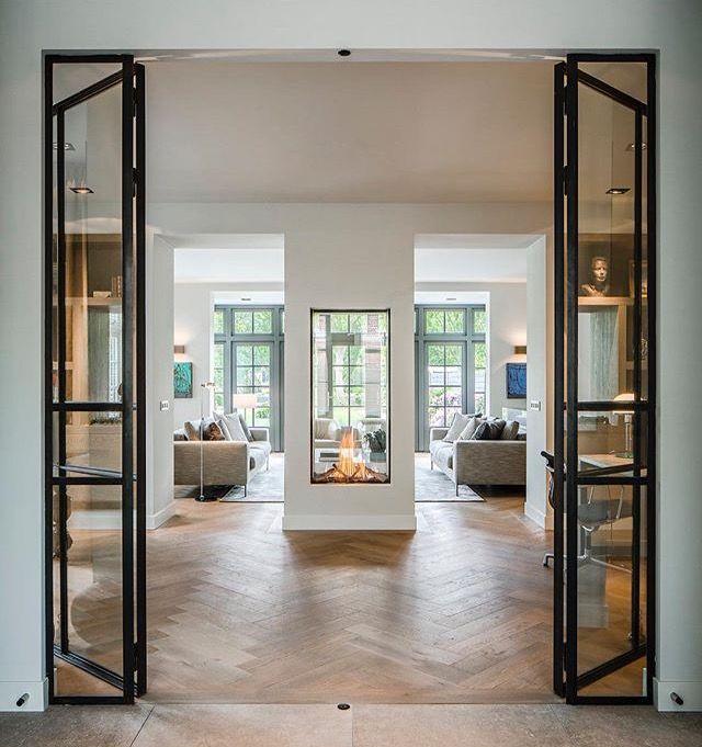 Haus Bauen, Home Design, Architektur Innenarchitektur, Transporter,  Doppelseitiger Gaskamin, Beauty, Französische Türen, Puertas, Küchen