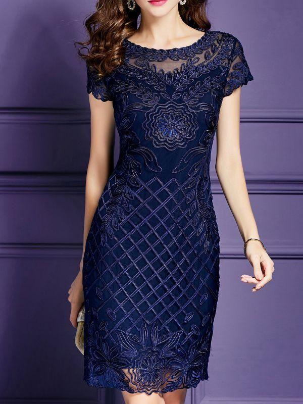 Chicloth Midi Dress sheath Daily Dress Short Sleeve cotton Embroidered Plus Size Dresses