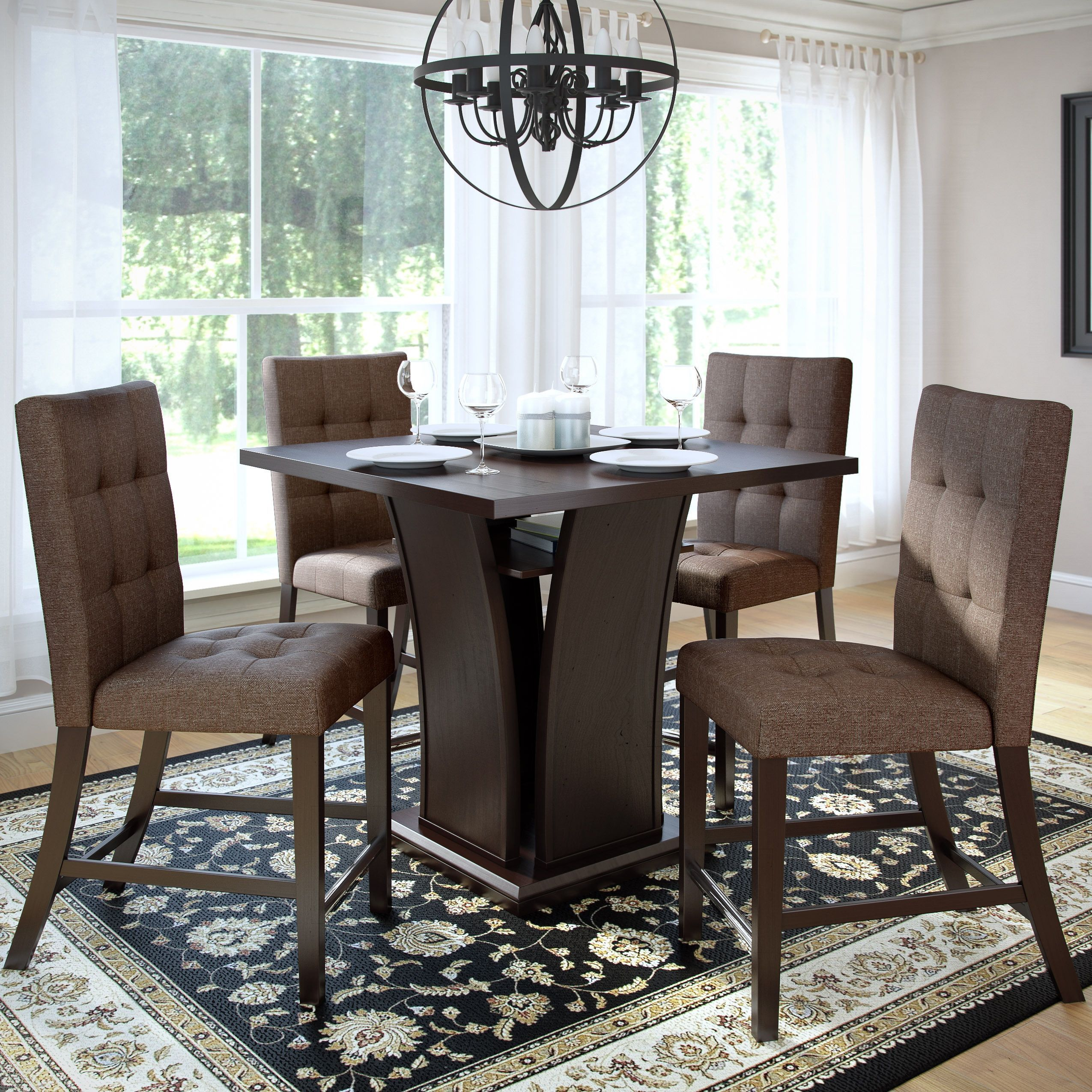 CorLiving Bistro 5pc Counter Height Dining Set Cappuccino and