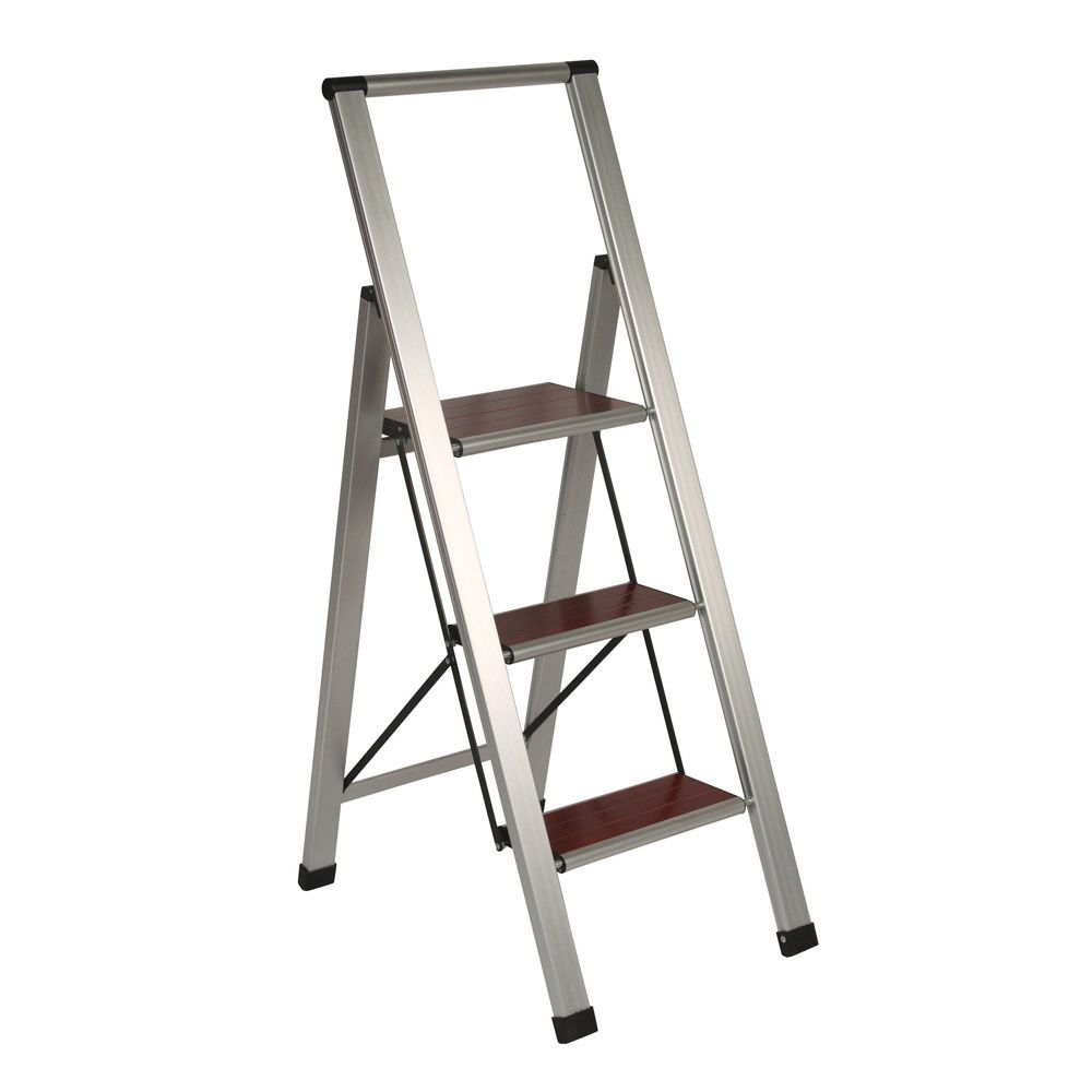Richards Homewares 3-step Brushed Aluminum/ Wood Step Ladder | Overstock.com Shopping  sc 1 st  Pinterest : aluminum step stools - islam-shia.org