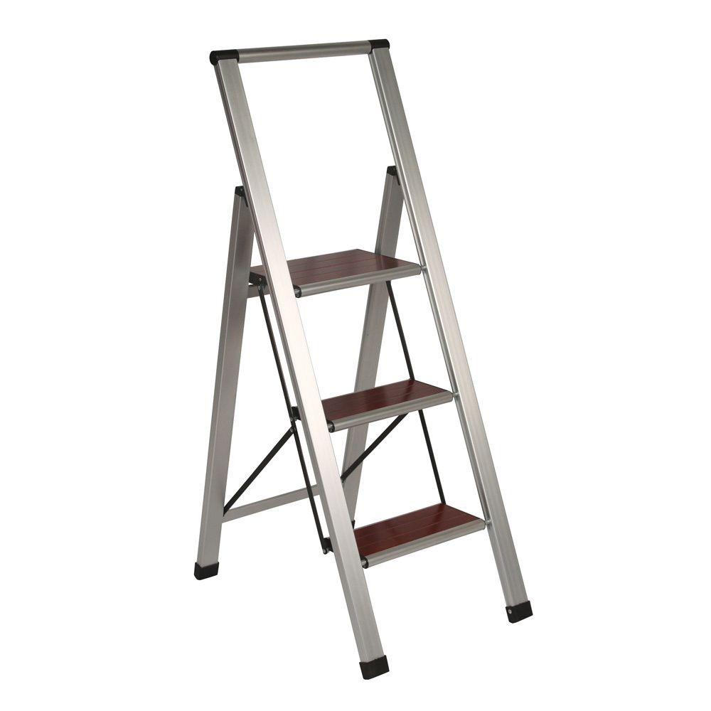 Richards Homewares 3-step Brushed Aluminum/ Wood Step Ladder | Overstock.com Shopping  sc 1 st  Pinterest & Richards Homewares 3-step Brushed Aluminum/ Wood Step Ladder ... islam-shia.org