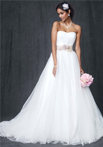 Strapless Wedding Gown With Ruched Bodice And Tulle Ball Gown
