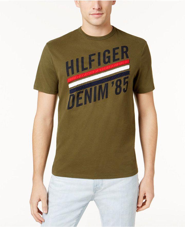 ad5ddafc Tommy Hilfiger Men's Applique Stripe Logo-Print T-Shirt | Products ...