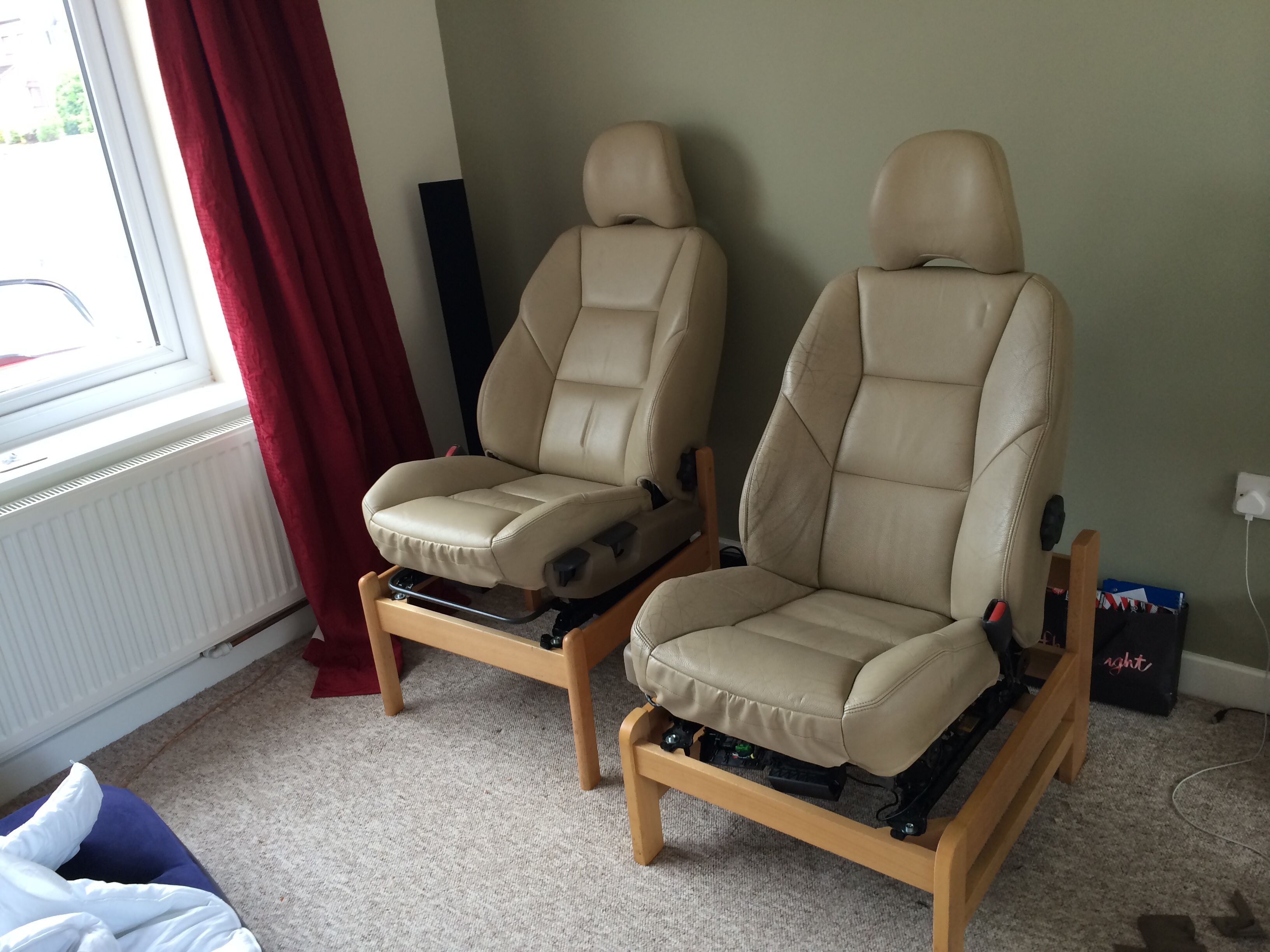 Home made car seat chairs. So comfy #homeofficeideasformen ...