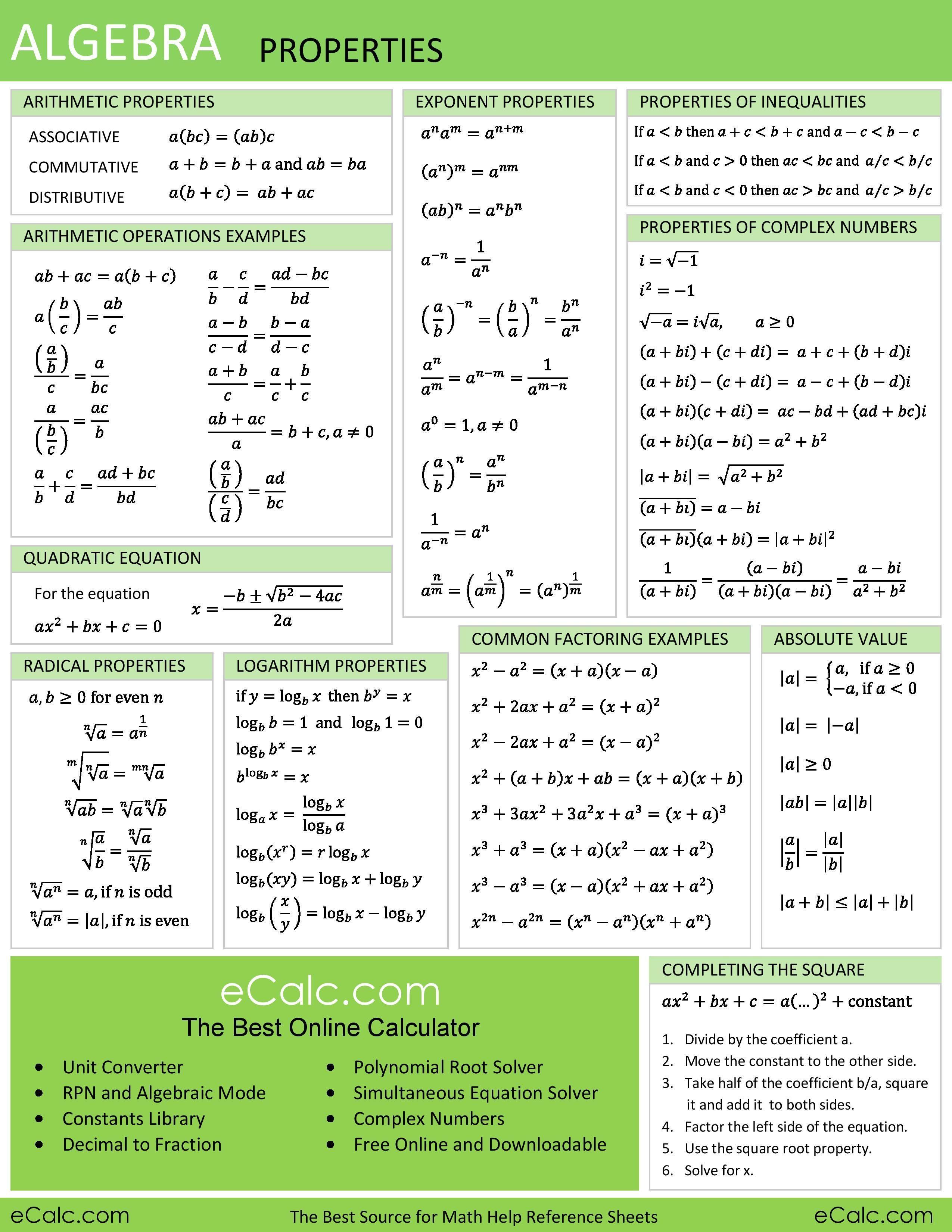 Algebra Properties Ecalc S Math Help Reference Sheet Algebra Ecalc Properties Reference Sheet New Math Methods Gre Math College Algebra
