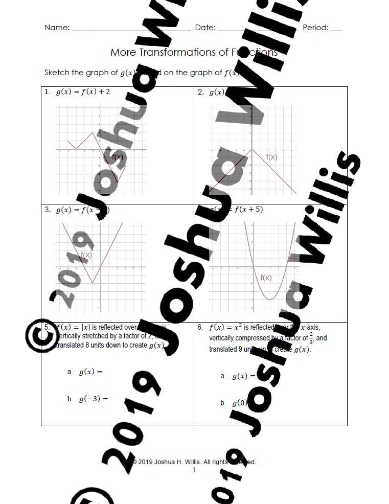 01 05 More Transformations Of Functions Worksheet Worksheets
