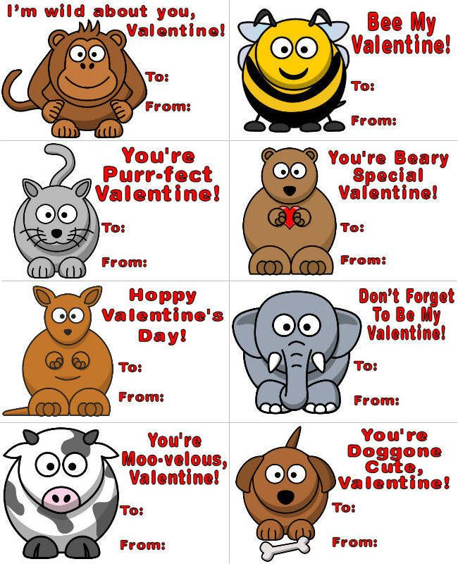 Animal Themed Printable Valentines – Cute Kids Valentines Cards