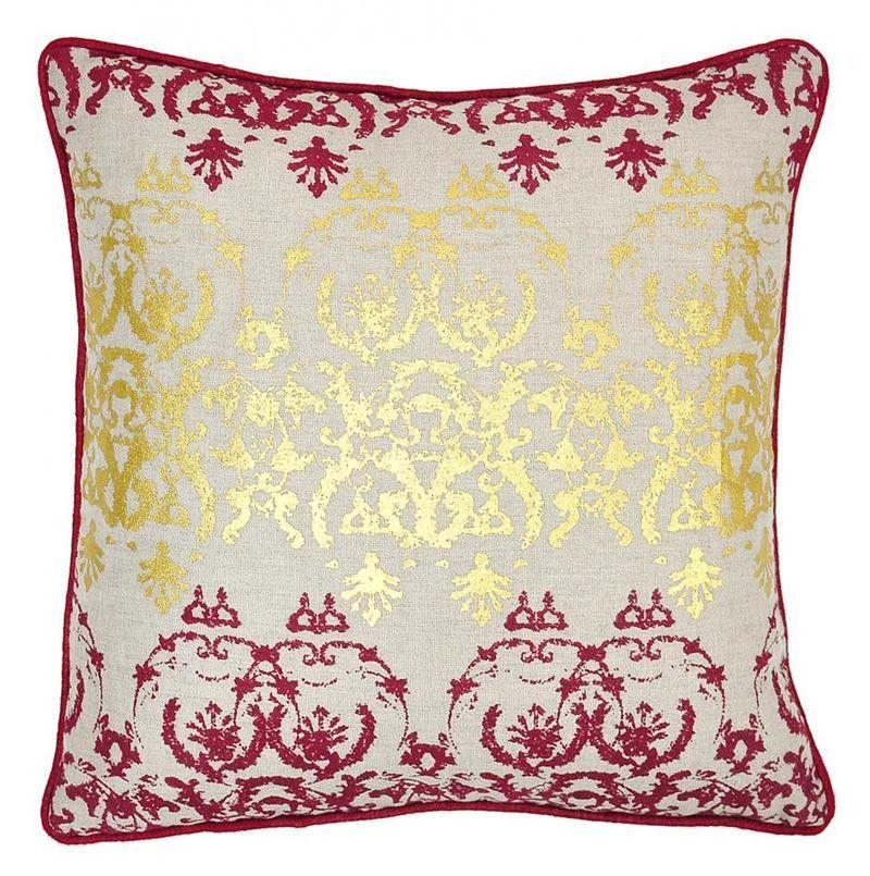 Entree Burgundy/Gold Pillow (Set Of 2)   Decorative Pillows At Belleandjune  |