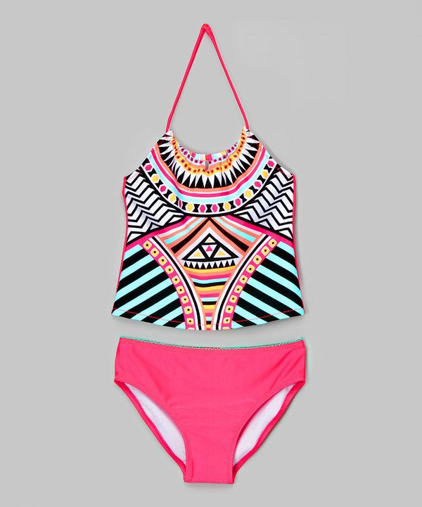 0740961063fff Look at this Pink   Black Geometric Tankini - Girls on  zulily today ...