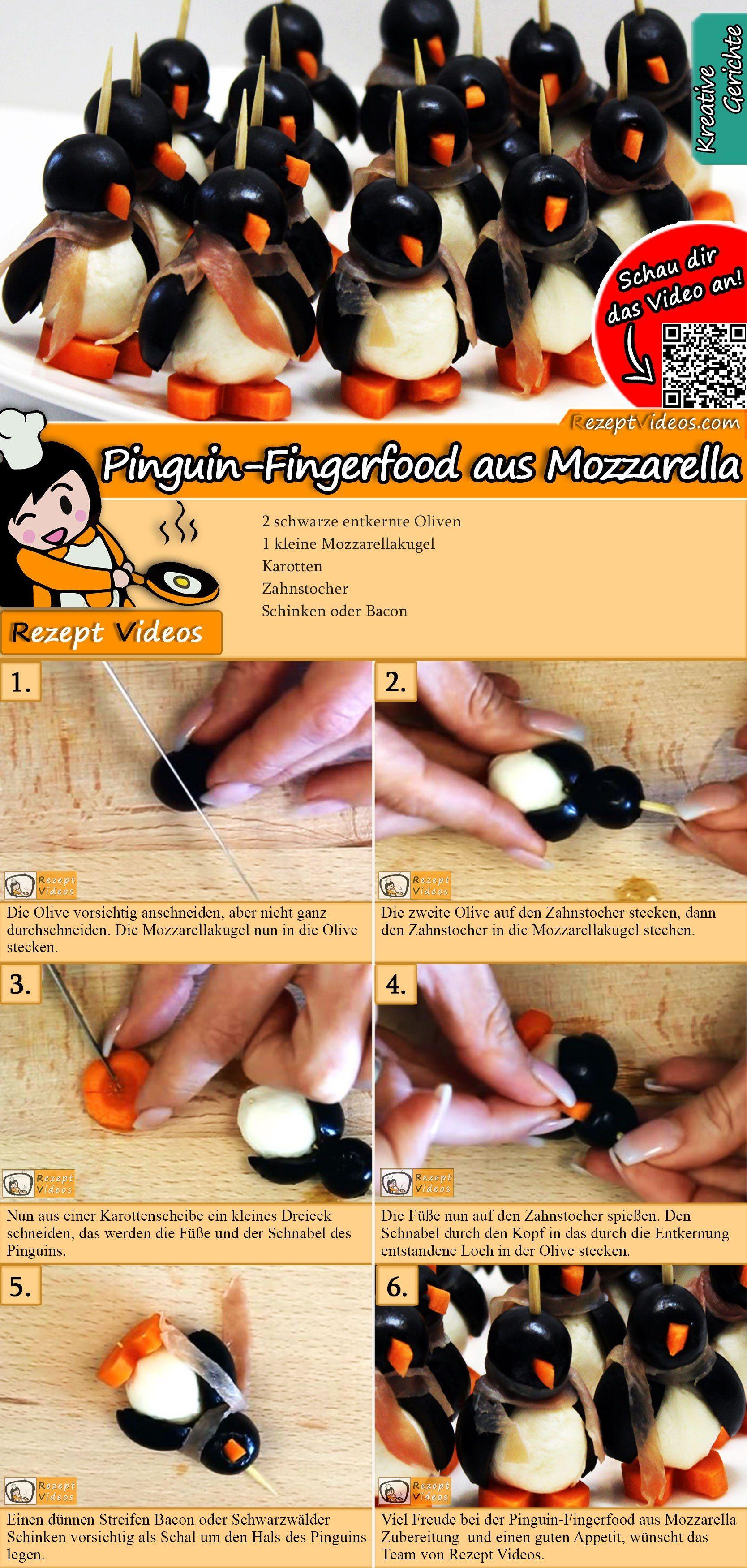 Pinguin-Fingerfood aus Mozzarella Rezept mit Video - Fingerfood