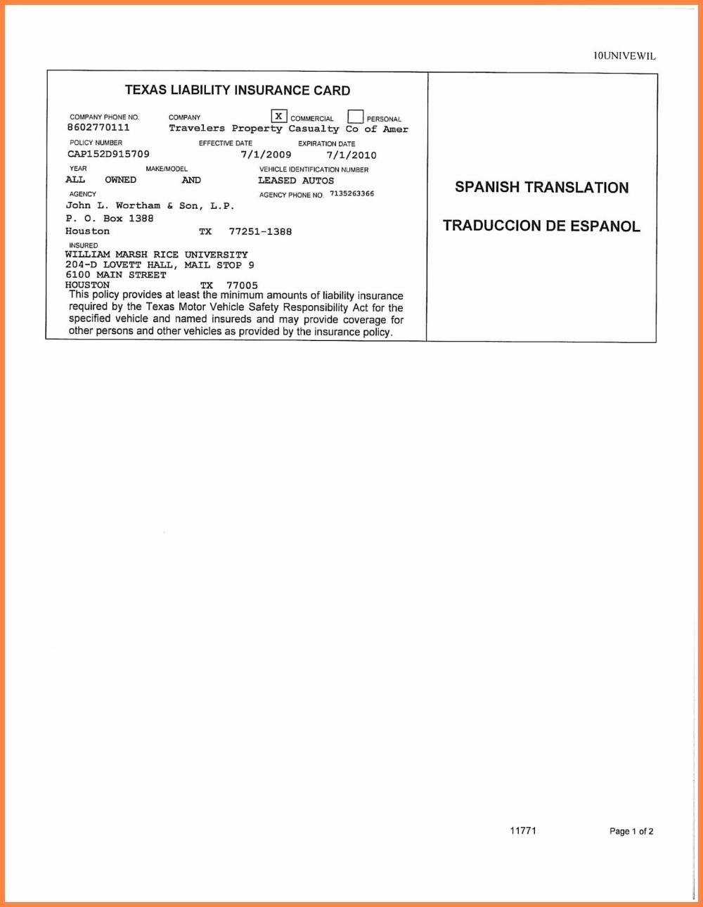 Car Insurance Card Inside Auto Insurance Id Card Template