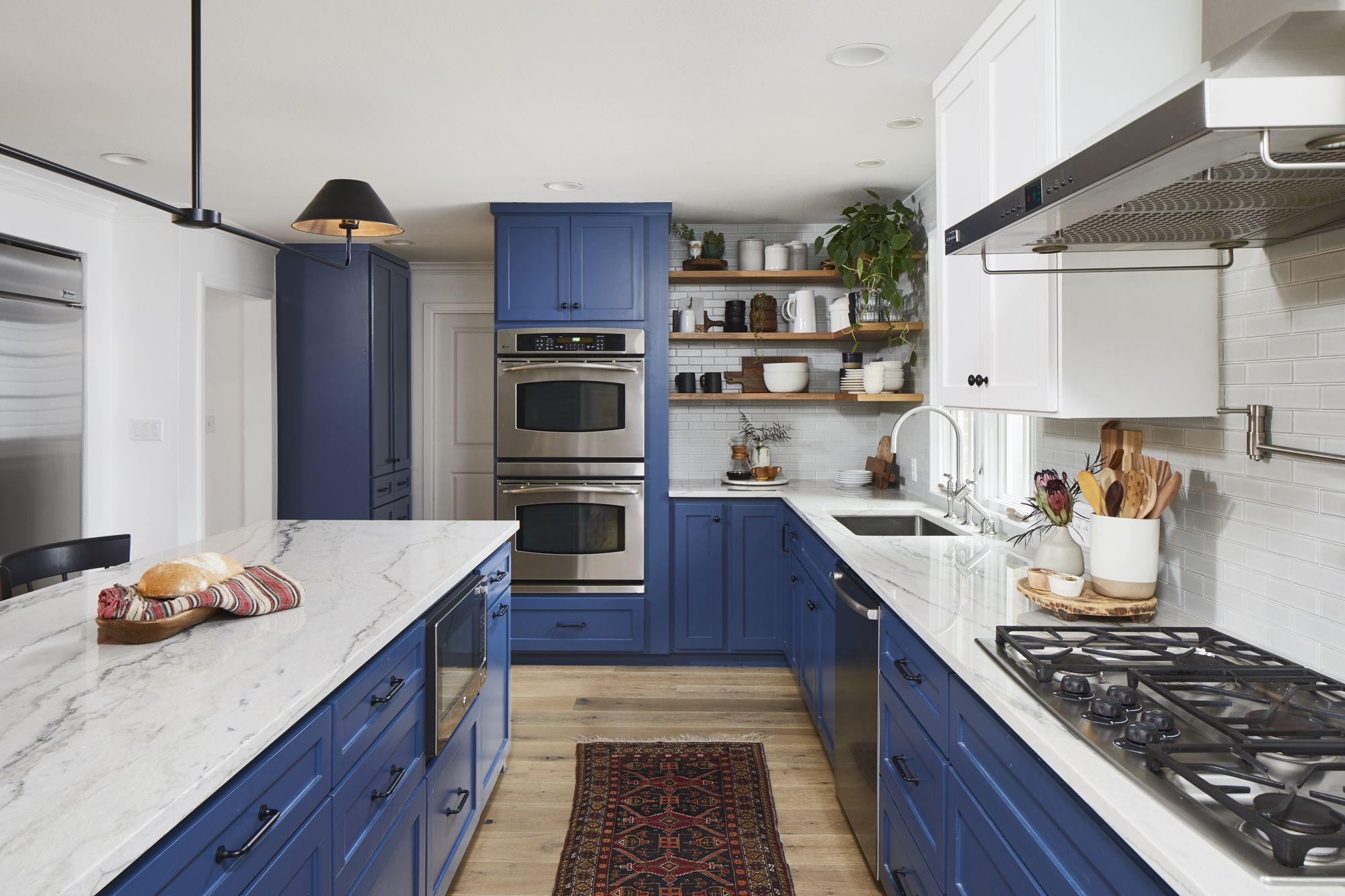 luxe kitchen remodel, farrow and ball, blue kitchen, austin texas ...