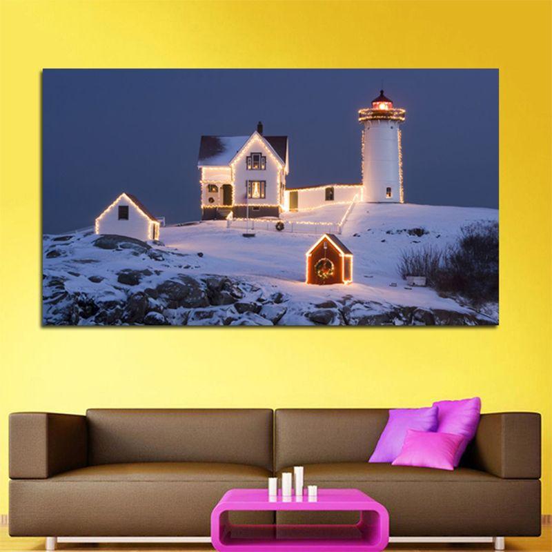 Handmade Snow Landscape Frameless Oil Paintings Nordic Decoration ...