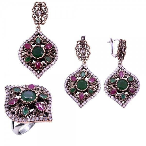 f3357ea72fd13 Authentic Sterling Silver Ruby Emerald Stone set Ottoman Style www ...