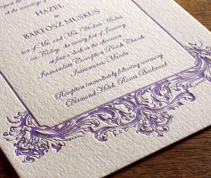 Classic and romantic letterpress wedding invitation style Baroque