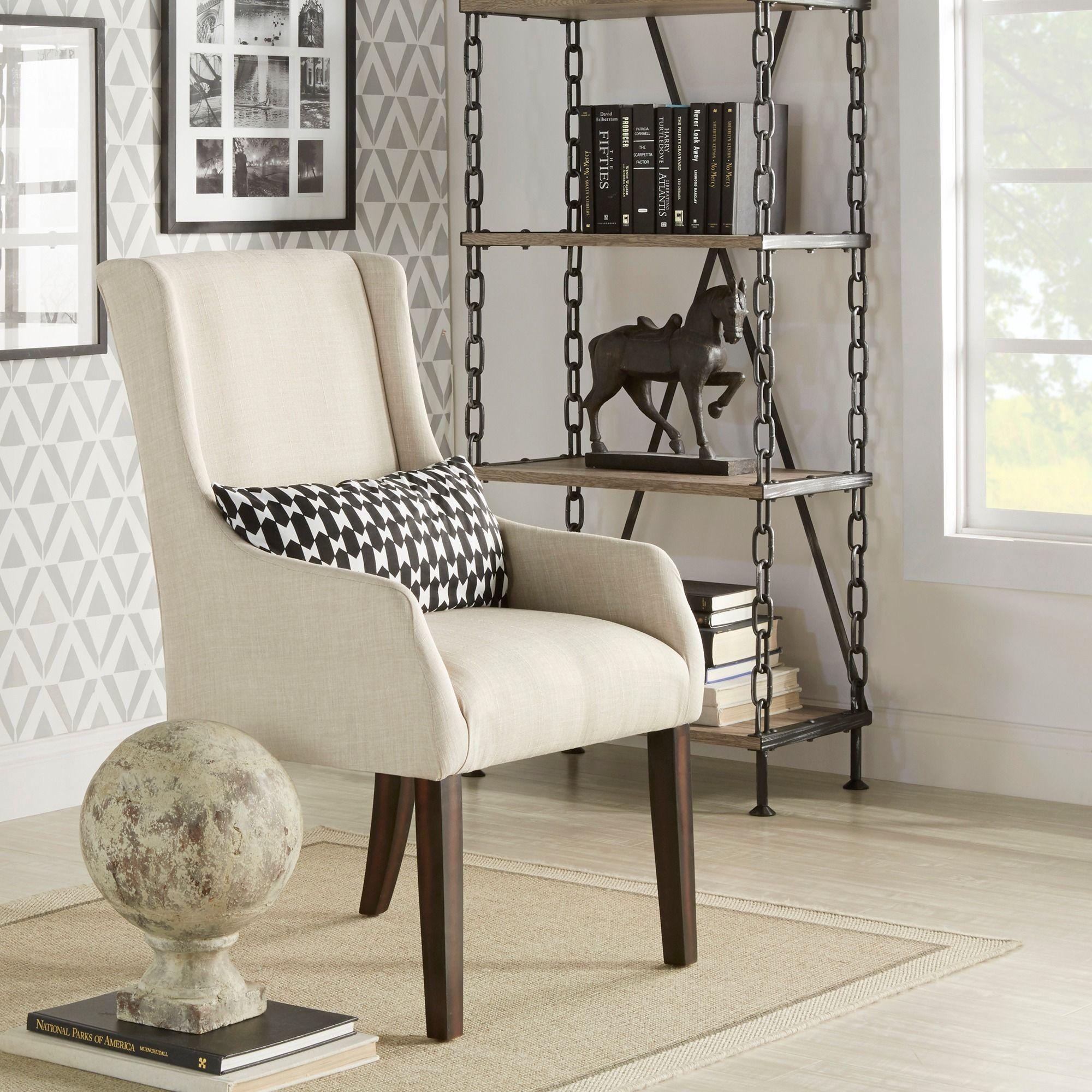 Inspire Q Jourdan Linen Sloped Arm Hostess Chair (Beige Linen)